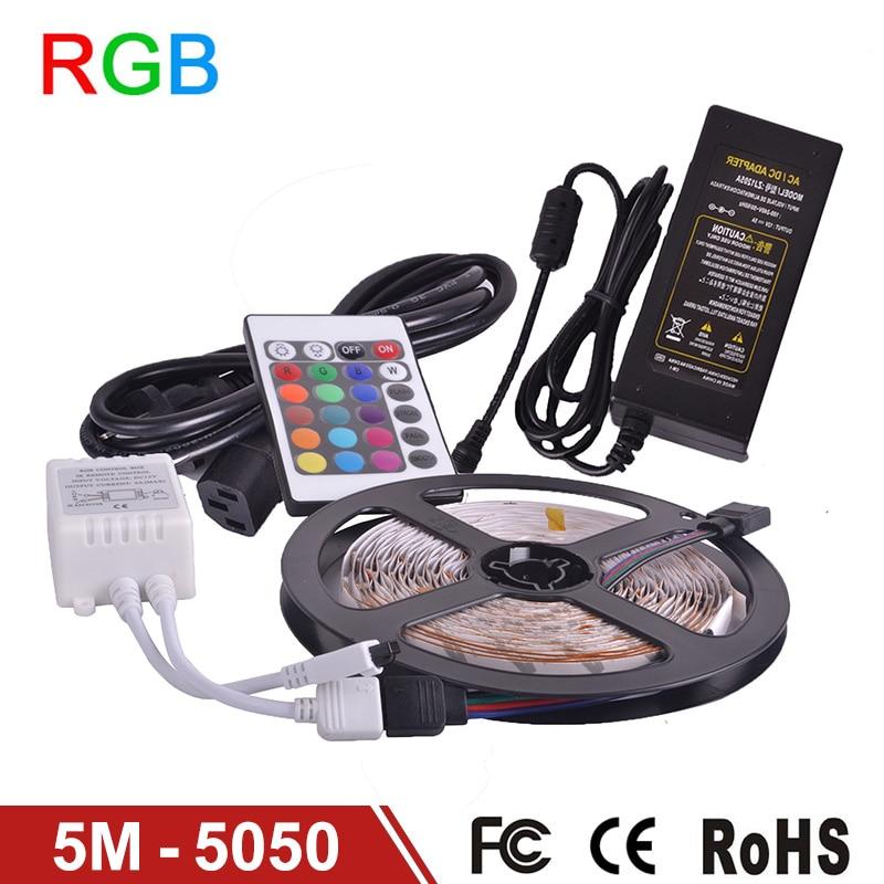 RGB LED Strip Licht 5050 DC12V Flexibele Tape LED Verlichting 300LED 5 m Indoor Decoratie Verlichting Afstandsbediening, Power Supply 5A