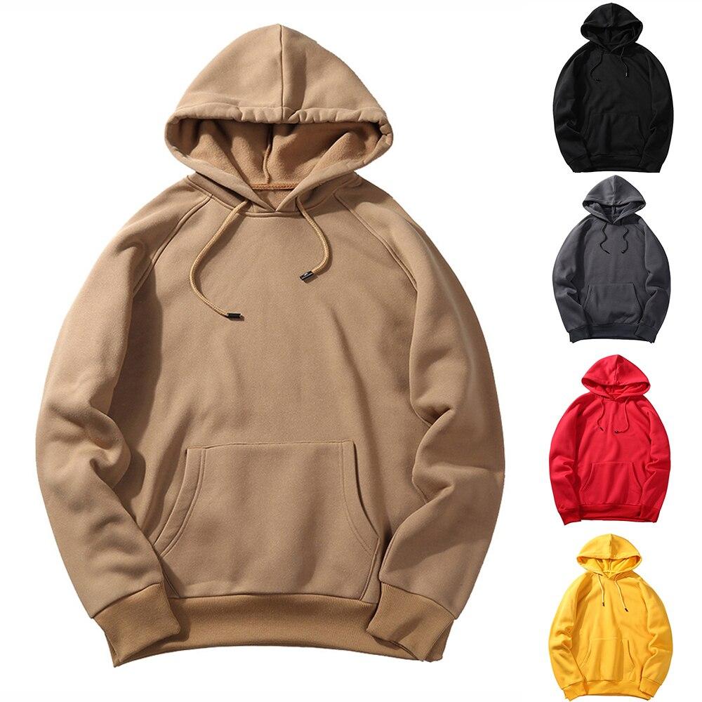 Laamei EU Size Fashion Colorful Hoodies Men's Thicken Clothes Winter Sweatshirts Men Hip  Streetwear Solid Fleece Man Hoody(China)