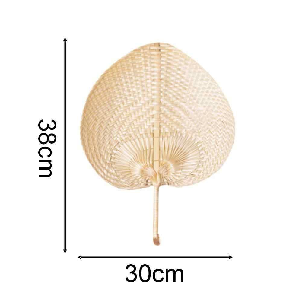 1 sztuk czysty wentylator Handmade DIY w kształcie serca tkane z bambusa wentylatory na lato narzędzia imprezowe czysty sztuczny DIY tkane wentylator