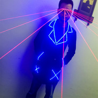 T1 Ballroom dance led costumes RGB light dj jacket stage wears outfit bar party performance laser glasses red beams light disco