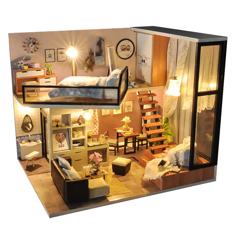 DIY Miniature Doll House 3D Wooden Dollhouse with Furniture Dust Cover Assemble Kit Toys Doll Houses for Children Birthday Gift