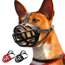 Soft Rubber No Bite Dog Muzzle Mesh Basket Cage Stop Biting Barking Black Red 6 Sizes