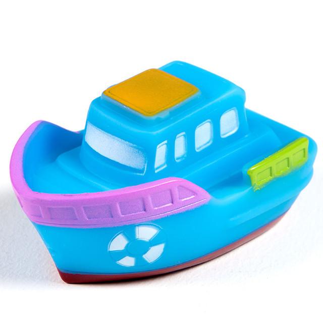 1Pcs/Set Cute Soft Rubber Ship Float Squeeze Sound Baby Wash Bath Toys Play Animals Toys Kids Bath Toys Blue