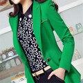 Женщины Пиджаки И Куртки 2017 Весна Осень Мода Длинным Рукавом Blaser Пальто Женщина Зеленый Черный Дамы Блейзер Mujer