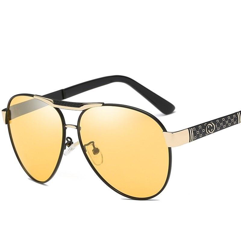 2019 New Men Polarized Photochromic Grey Yellow Sunglasses Men Pilot Sun Glasses Business Style Chameleon Change Color Glasses