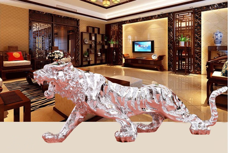Aliexpress com Buy Tiger ornaments decorations Plate with silver king  company store living room office car. Ornaments For Living Room  universalcouncil info