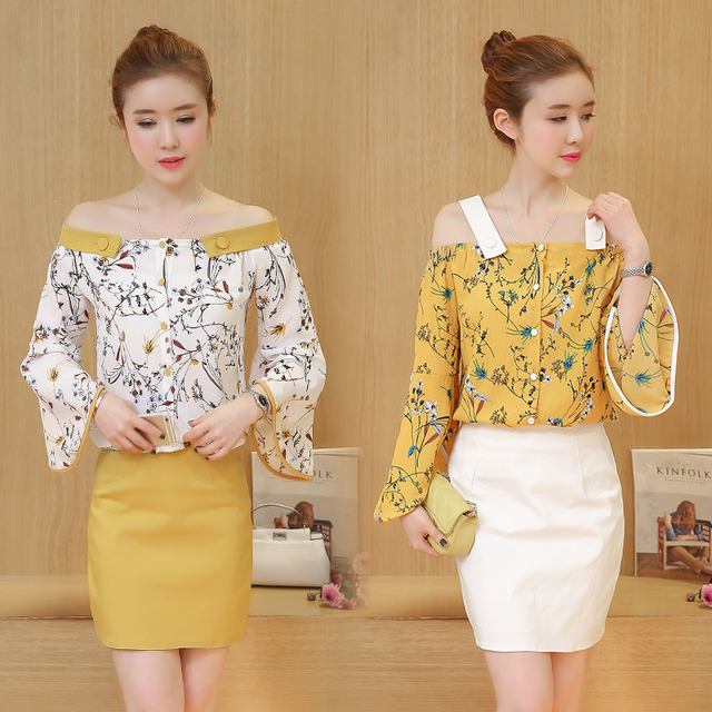 Us 32 88 A Lady Set Clothing Summer New Skirt Dew Shoulder Floral Chiffon Blouse Slash Neck Top Flare Sleeve Skirt Two Piece Outfit S Xl In Women S