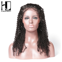 [HJ WEAVE BEAUTY] Human Hair Lace Front Wigs Kinky Curly Brazilian Remy Hair Natural Color Free Shipping