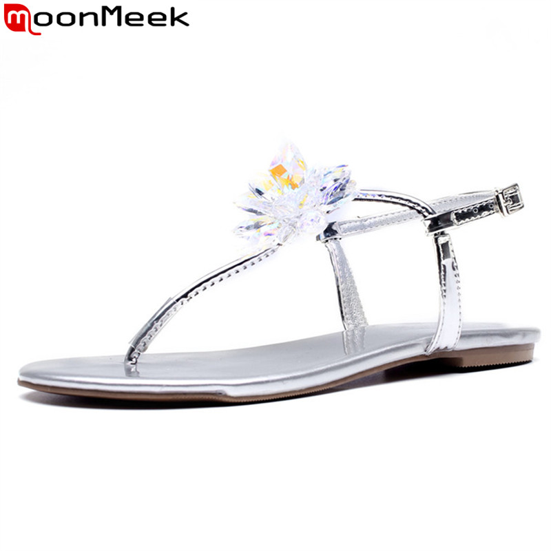 MoonMeek 2018 summer new arrival shoes woman buckle casual comfortable genuine leather sandals Rhinestone sweet shoes woman