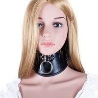 Черный кожаный BDSM Collar с выдвижной кольцо секс-игрушки для взрослых Регулируемый запираемый ремень ведомого Фетиш связывание шейный ремень ...