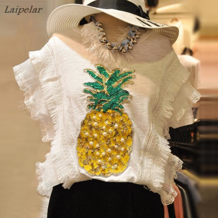 2018 summer casual bead sequins pineapple pattern cotton linen sleeveless T shirt Holiday Beach Tops female Laipelar in T Shirts from Women 39 s Clothing