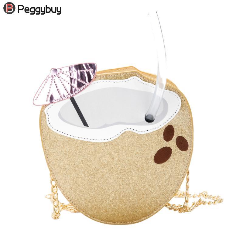 Cute Women Cartoon Coconut Shape PU Leather Mini Messenger Bag New Girls Casual Chain Shoulder Handbags Fashion Crossbody Bag