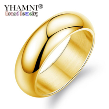 YHAMNI Luxury Couples Jewelry 7mm Wide Stainless Steel Engagement Rings For Lovers Gold Color Wedding Rings Full Size us#5-14