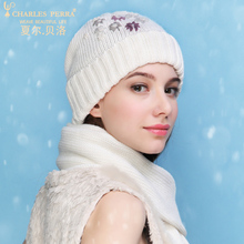 Charles Perra NEW Women Winter Hats Scarves Two-Piece Sets Embroidery Casual Elegant Lady Single Layer Knitted Hat 3322