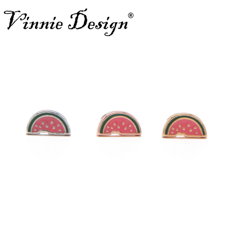 Vinnie Design Jewelry 8mm Watermelon Slide Charms fit on Wrap Bracelets Wristband Belts for Women and Children 10pcs/lot