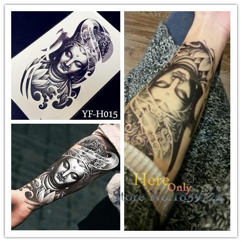 HOT Buddha Tattoo Sleeves 3d Stickers Body Arm YF-H015 Men's Buddhism Temporary Transfer Tattoo Paste Paper Women Taty Sheets
