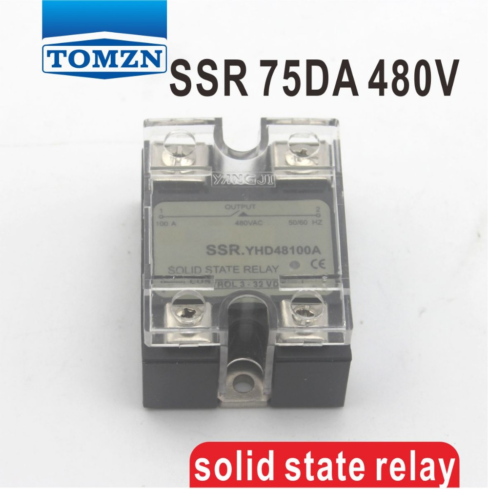 75DA SSR Control 3-32V DC output 24~480VAC High voltage single phase AC solid state relay dc ac single phase ssr solid state relay 120a 3 32v dc 24 480v ac