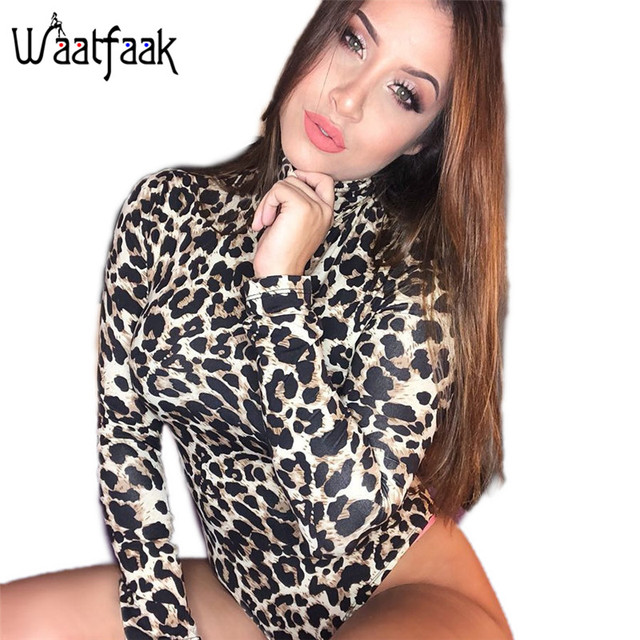2fd91a60def Realpopu Knitted Leopard Printed Jumpsuit Women Turtleneck Short Bodysuit  Women Sexy Bodycon Casual Slim Long Sleeve Rompers Top