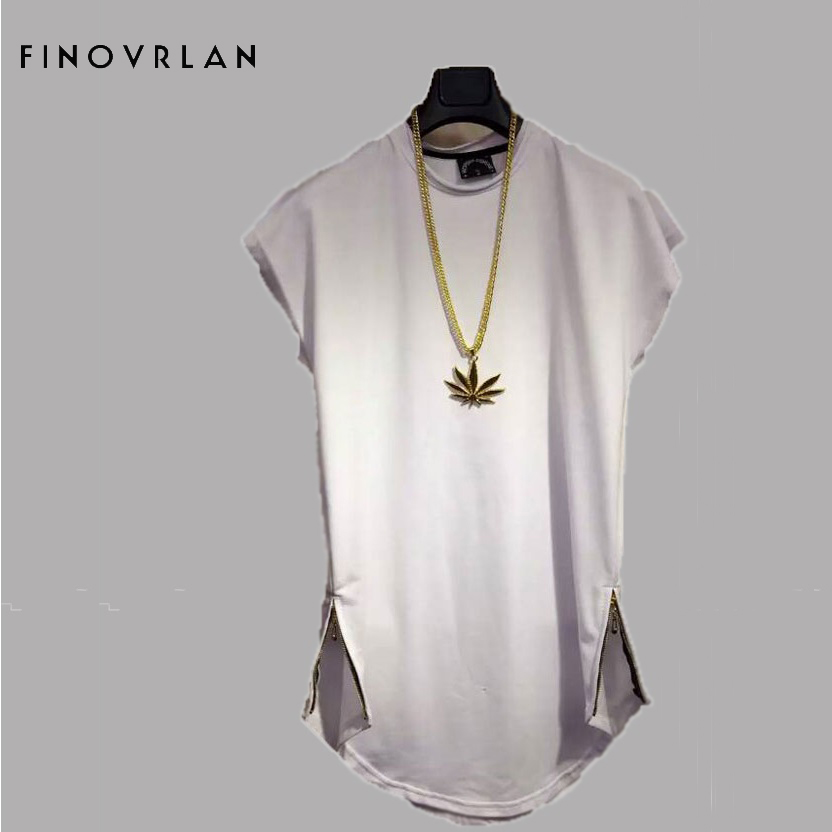 Brand New Clothing Mens Side zipper Long t shirt Men Tops Hip hop tee T shirt Men Hiphop Short Sleeve Longline casual Tee shirts