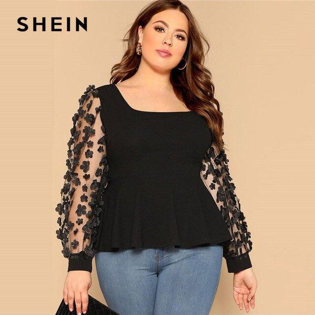 1500fb6771b7 SHEIN Black Sheer Lace Mesh Appliques Lantern Sleeve Plus Size Women Blouses  2019 Spring Square Collar