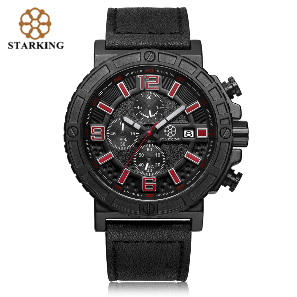 STARKING Genuine Leather Men Sport Watch Army Chronograph Data - Męskie zegarki - Zdjęcie 1