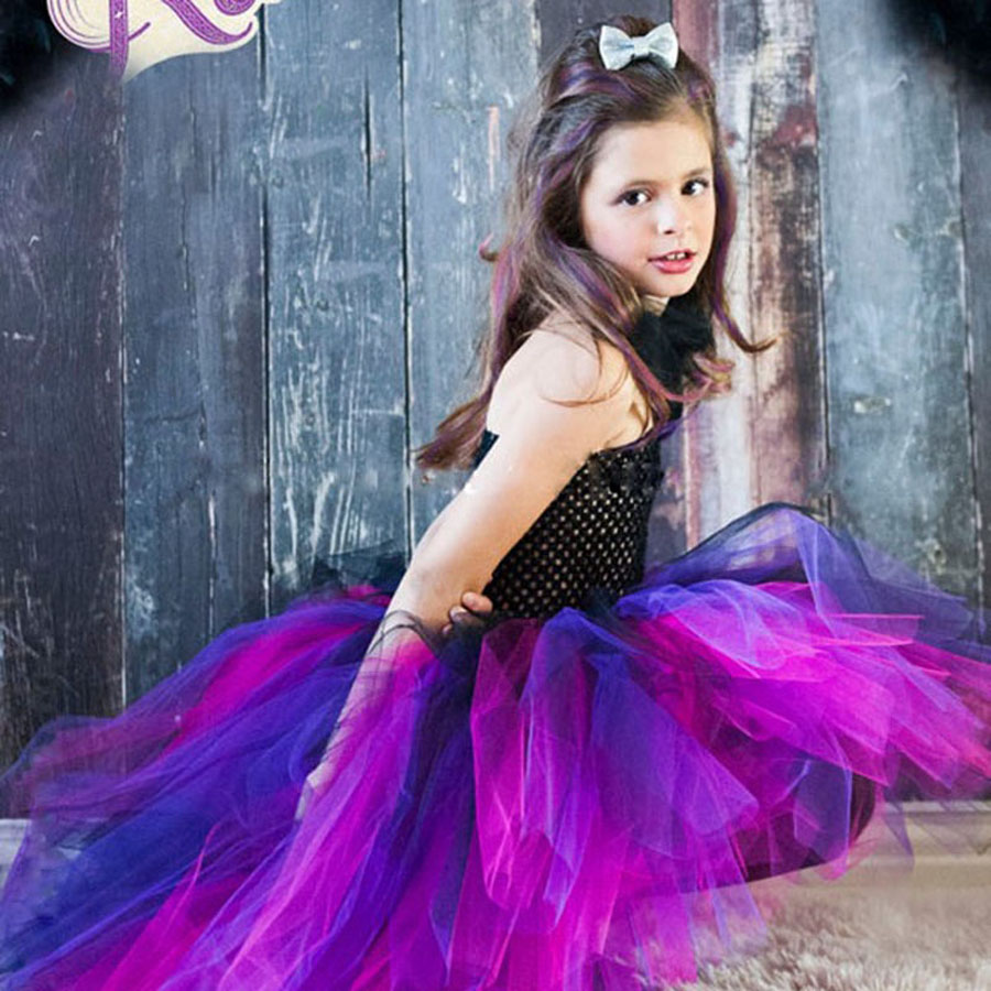 Halloween Little Witch Tutu Dress Girls Cosplay Costume Handmade Fluffy Children Pageant Wear Short Dress TS088 юбка strawberry witch lolita sk