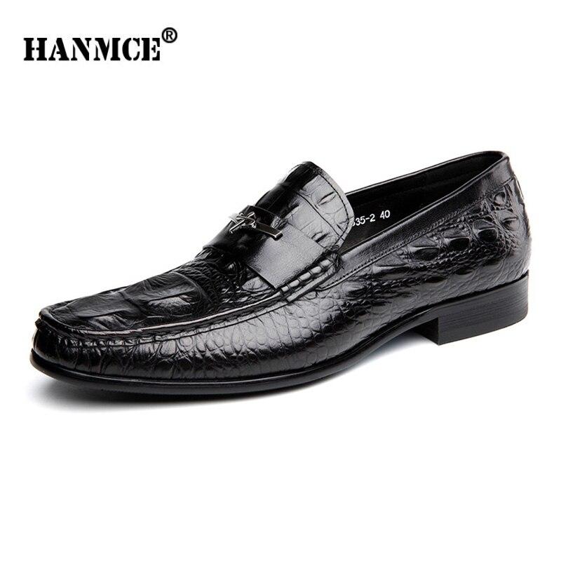 HANMCE najwyższej jakości mieszkania buty prawdziwej skóry sukienka biuro mokasyny obuwie męskie buty ślubne Mans mieszkania buty biurowe w Buty wizytowe od Buty na  Grupa 1