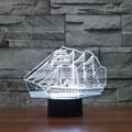 Sailing Boat Christmas Gift 3D Night Light Bulbing Lamp 7 Color Dimming Illusion LED Table Lamp Baby Toy for Party Holiday Light