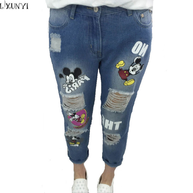 Wholesale Plus Size Hole Jeans Female Spring Summer 2017 Mickey Printing Denim Pants Mid Waist Thin Ankle Length Pants Cartoon