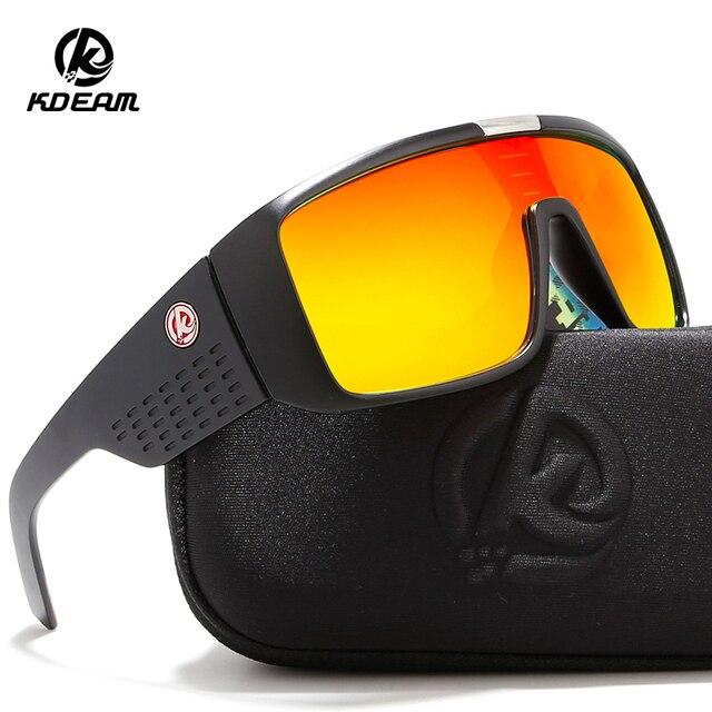 79b20e45af KDEAM negrita escudo hombres gafas de sol polarizadas HD Visión gafas al  aire libre, parece