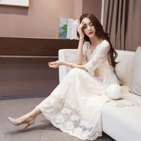 063c7136cd US $18.84 49% OFF Clobee 2017 Korean Style Lace Women Dress Lace Print  Flower A Line Ladies Dresses Long Elegant Work Femme Vestidos Z624-in  Dresses ...