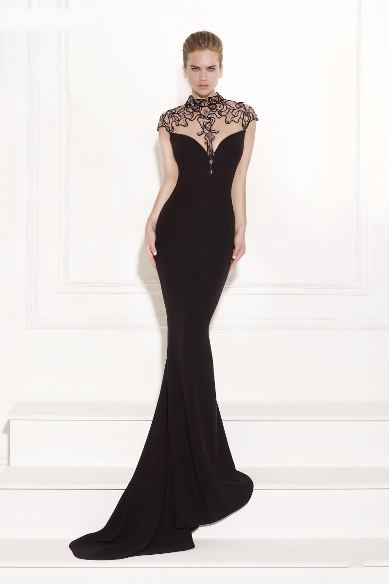 Online Shop Cap sleeve long black evening dresses sheer illusion ...