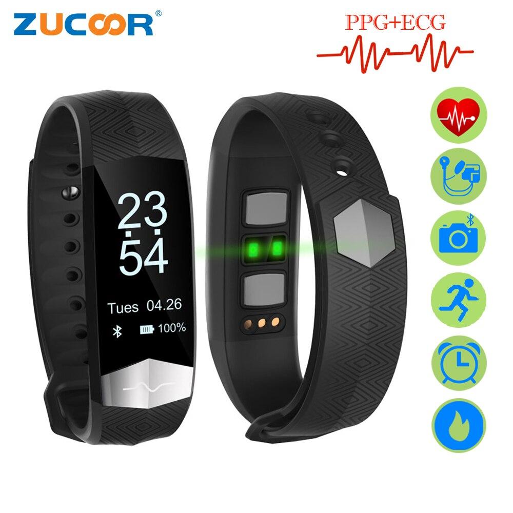 ZUCOOR Braccialetto Intelligente Fitness ECG PPG Pulseira Inteligente RB76 Pressione Sanguigna Tonometers Wristband Contapassi Attività Tracker