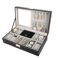 PU Leather Makeup Organizers Portable Women Earrings Collection Necklace Jewelry Wrist Watches Box Organizer D