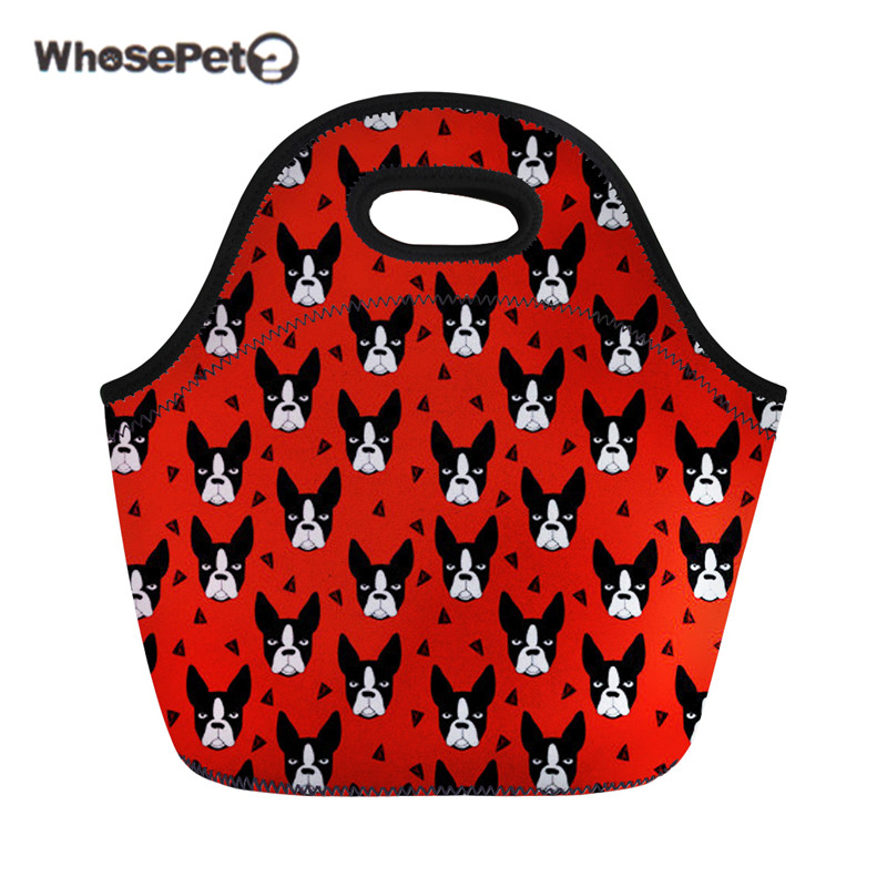WHOSEPET Women Insulated Thermal Food Bags Boston Terrier Thermo Bag For Kids Girls Cute Personalized School Picnic Lunch Box