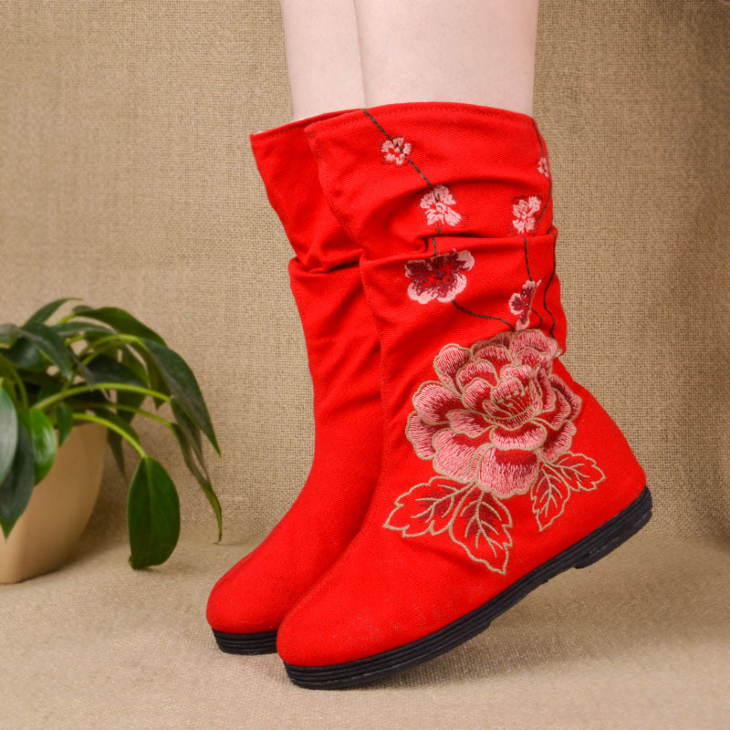 Women Spring Autumn Flats Round Toe Height Increase Elevator National Style Embroidery Fashion Mid Calf Boots Size 35-40 SXQ0812 vintage embroidery women flats chinese floral canvas embroidered shoes national old beijing cloth single dance soft flats