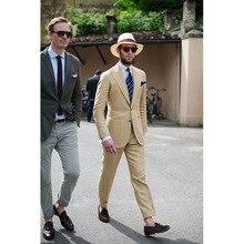 2017 Khaki Beige Beach men wedding suits Terno masculino Slim Fit 2 Pieces Tuxedo Custom Blazer Groom mens suit vestido de festa