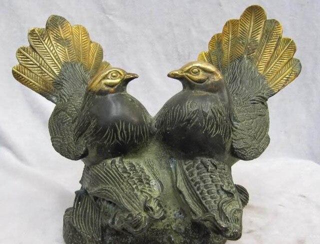 Chinese Folk collection Old Bronze Gilt Two mandarin duck Bird on Corn maize free shipping