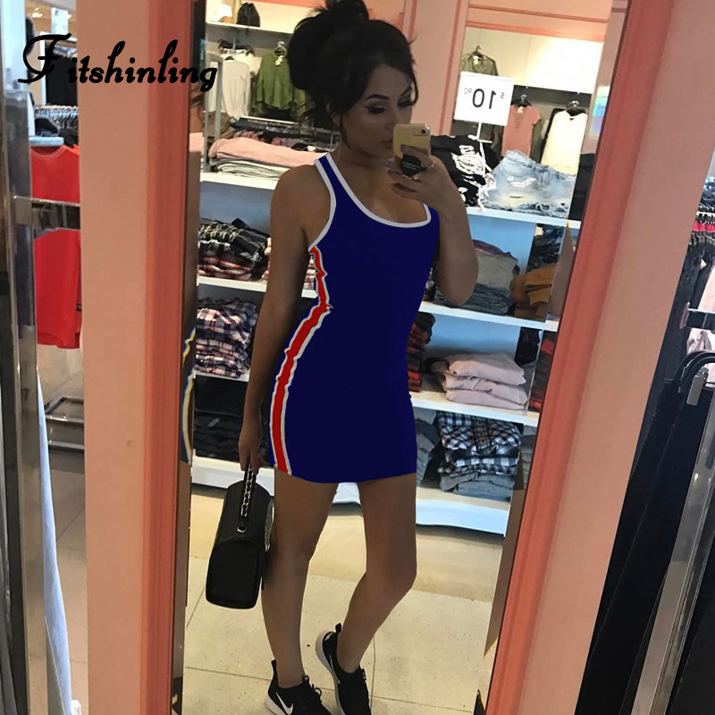 52f676bce32a Fitshinling Side striped sporty dresses for women fitness slim sexy ...