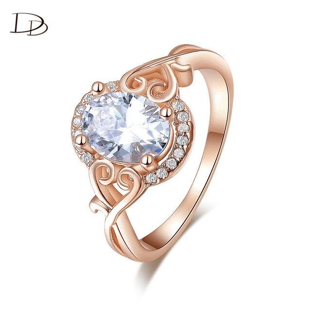 585 Różowe Złoto Kolor Pierścionki Zaręczynowe Piękny Serce Big