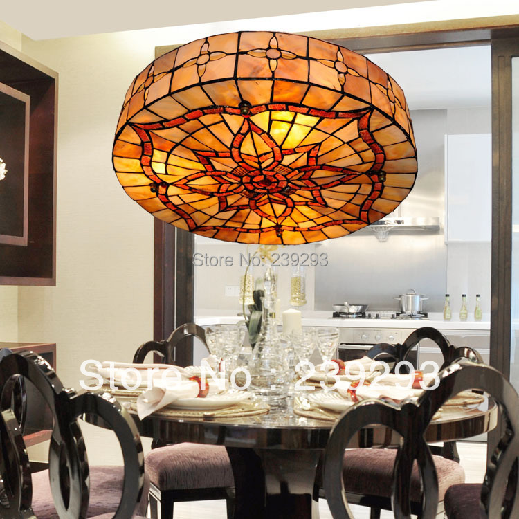 Mamei Home And Hotel Used Free Shipping 110 240v Indoor Tiffany Dining Room Lamp With 18 Shell Shade 3 Lights From China In Ceiling