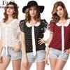 2016 New Summer Women Print Blouse Fashion Short Sleeve Chiffon Blouses Elegant Loose Chiffon Shirt Plus