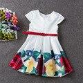 Горячие Продажи Партии Супер девушки Цветка платья для Лета и свадебные горошек Принцесса Дети Платье Мода детская Одежда