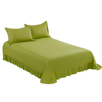 Fruit Green Color Bedspread Lace Flat Sheet Bed Sheet Hotel Home Satin Weave 100% Cotton Products Home Textile 265x250cm Size