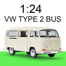 цена на Welly 1:24 diecast Car VW TYPE 2 T2 BUS MPV VAN Cars 1:24 Alloy Car Metal Vehicle Collectible Models toys For Gift