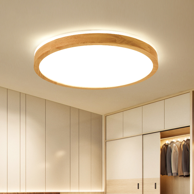 DX LED Wood Ceiling Light For Living Room Bedroom 6cm Height Solid Wood Vintage LED Ceiling Light Fixtures RC Dimmable