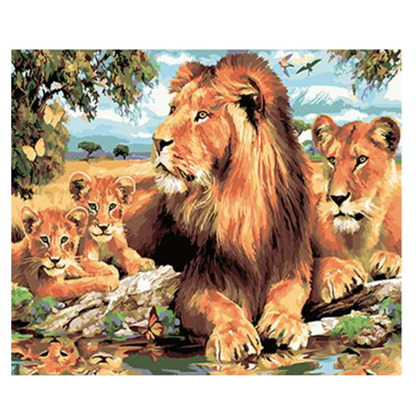 WONZOM Lion Family Diy Painting By Numbers Digital Animal Calligraphy Handpainted Wall Art Picture For Home Decor 40x50