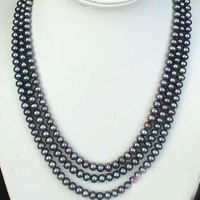 Hot Free Shipping New 2014 Fashion Style Diy Long 100 8 9mm Black Akoya Cultured Pearl