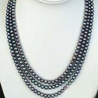 Hot Free Shipping New 2014 Fashion Style Diy Long 100 8 9mm Black Akoya Cultured Pearl