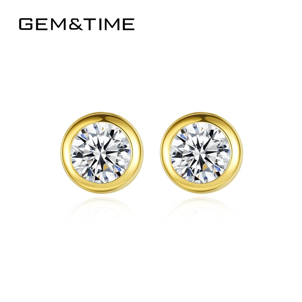 Gem&Time Solid 14k Gold Round Stud Earrings For Women Cubic Zirconia Wedding Real Gold Au585 Earring Fine Jewelry Brincos E14115